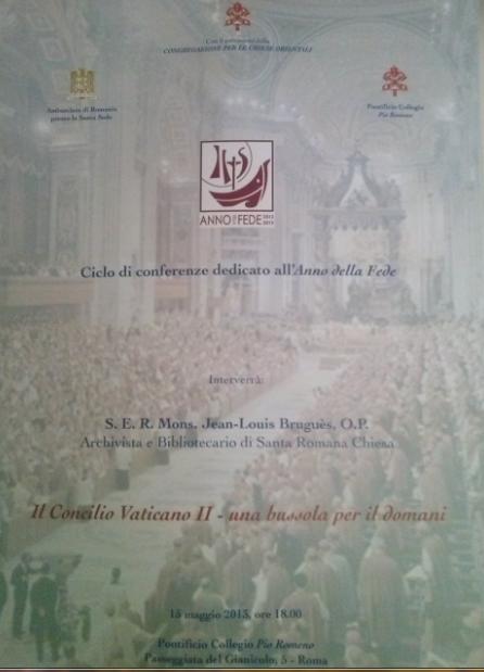 """ANUNŢ CONFERINŢĂ: ,,Conciliul Vatican al II-lea – o busolă pentru ziua de mâine"""""""