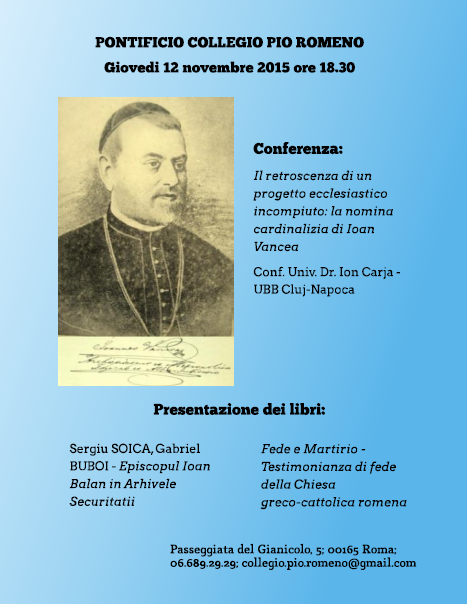 Conferință și prezentare de carte la Colegiul Pontifical Pio Romeno